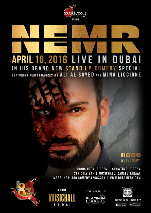 Nemr Live in Dubai Event Flier